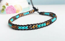 Tiger eye Turquoise stone anklets leather anklets brown blue anklets men women