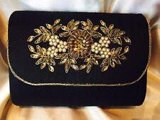 Black Gold Diwali Handbag Clutch Wallet Bollywood Indian Dress Purse Silk