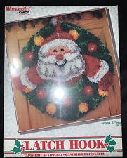 New listing New Caron Wonder Art 4681 Merry Christmas Santa Wreath Latch Hook Rug Kit Round