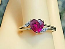 10K SOLID GOLD AND RUBY `HEART `RING   2.0 GRAMS SIZE 7.25 + RING BOX