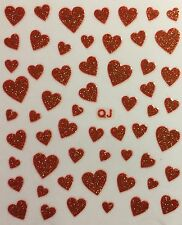 Nail Art 3D Decal Stickers Red Glittery Hearts Valentine's Day