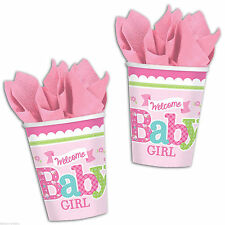 Welcome Little One Girl Baby Shower 9oz Paper Cups 8 Count Party Pink Butterfly