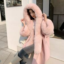 Women's Cloak Real Fox Fur Luxury Wool Poncho Cashmere Shawls Winter Capes 57860