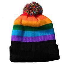 Gay Pride Beanie Cap Rainbow Beanie with Pom Pom