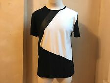 ZARA MAN ASYMETRIC BLACK WHITE COLOR BLOCK & FAUX LEATHER TRIM T SHIRT S L 42 G