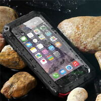 Water Resistant Shockproof Metal Case Cover +Gorilla Glass For iPhone & Samsung