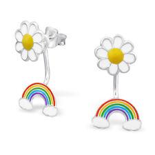 ICYROSE 925 Sterling Silver Flower w/ Dangling Rainbow Kids Stud Earrings 2749