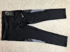 NEW gray Black NIKE POWER running TIGHT fit Leggings small S crop length