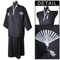 New Style Black Men's Yukata Japanese Haori warrior Kimono Robe Cosplay Costume