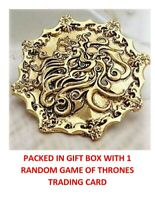 RARE GAME OF THRONES GOLD LANNISTER LION ON FIRE COLLECTIBLE BADGE PIN GIFT