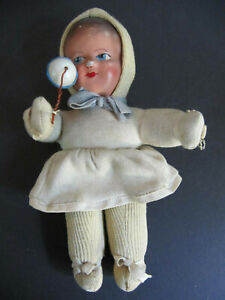 "Antique Vtg Baby Doll Composite Head Plastic Rattle Cloth Body 8"""