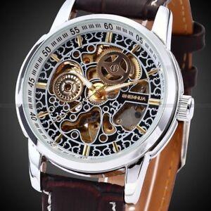 Antique Men's Skeleton Automatic Mechanical Watch Leather Strap Unique Design