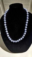 VINTAGE CHINESE WHITE BLUE SYMBOLS PORCELAIN BEADS NECKLACE HAND KNOTTED