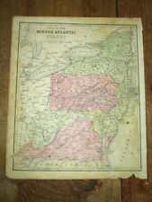 1876 Map ~ Mid Atlantic States, Ny, Nj, Md, Pa, De, Va, Wv~ Cowperthwait, Phila