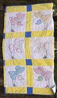 "38"" x 62"" of Sun Bonnet Sue Blanket Still Good Scraps to Repurpose Poor to Fair"