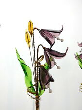 VIOLET CAMPANE CRISTALLO VETRO Fiori Ornamento Decorazione perfetta per la tavola MENSOLA