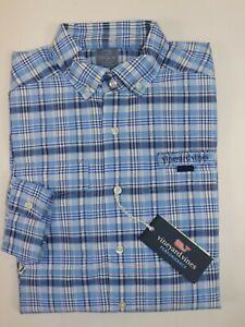 NWT $125 VINEYARD VINES Size S Men's L/S  Blue Plaid Performance HARBOR Shirt
