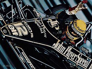 Ayrton Senna 90 x 70 cms limited edition F1 art print by Colin Carter