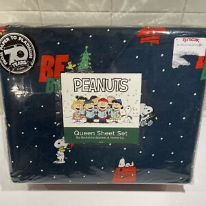 Peanuts Snoopy QUEEN Sheet Set 4pc Gang Christmas Carol Berkshire NEW Sheets