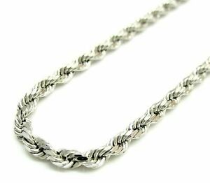 Solid 925 Sterling Silver Italian Rope Chain Mens Necklace 5mm - Diamond Cut