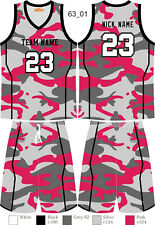 Camouflage Basketball Jersey Set Top & Shorts for Mens Ladies Kids Custom 63