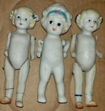 3 Antique Vintage Miniature Baby Dolls Jointed Arms Bisque Ceramic Japan