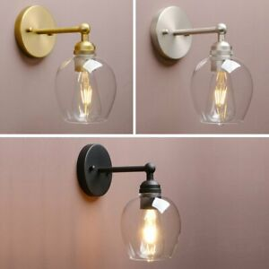 Retro Industrial Style Bell Clear Glass Wall Lamp Antique Edison Sconce Light