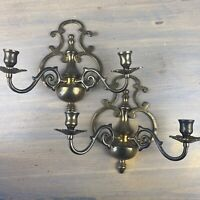 Vintage Solid Brass Wall Sconces Candelabra 2 Arm Candle Holders Pair Set Of 2