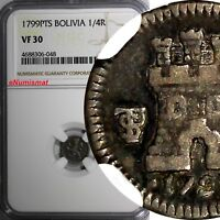 Bolivia Carlos IV Silver 1799 PTS 1/4 Real NGC VF30 Rampart lion / Castle KM# 82