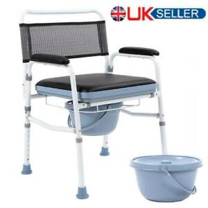 Portable Commode Chair Toilet with Height Adjustable Mobility Disability Aid