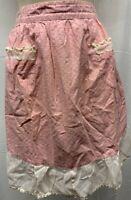 MCM 40s - 60s  Vintage Floral Apron Rick Rack Half Ruffle Pink White Leaf