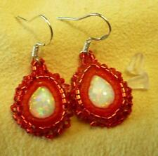 Sparkly Gemstone Red Fire Opal Sterling Silver Earrings - Native American Indian