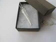 Silver Plated Pretty Delicate Filigree Long Cone Drop Necklace - Gift Box 12643