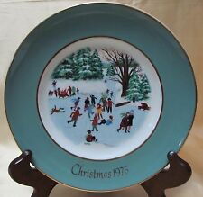 Avon 1975 Christmas Plate Series Fourth Edition ''Skaters on the Ponds''Made exc