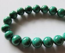 50pcs 8mm Round Natural Gemstone Beads - Malachite
