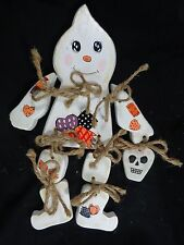 """GHOST FIGURINE Shelf Sitter 12"""" Patchwork White Wood Twine Joints Hand Painted"""