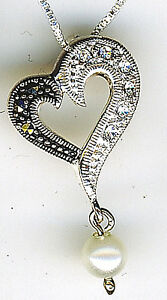 """925 Sterling Silver Pearl Ball, Marcasite & Zirconia Heart Pendant on 18"""" chain"""
