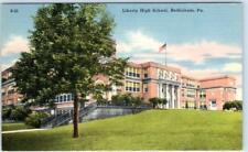 BETHLEHEM, Pennsylvania  PA     LIBERTY HIGH SCHOOL   ca 1940s Linen  Postcard