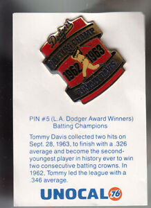 VINTAGE L.A. DODGERS UNOCAL PIN (UNUSED) - BATTING CHAMPIONS 1962-1963
