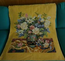 Gorgeous Ann-Gles Completed Cross Stitch Embroidery Vase Of Many Flowers Frame+