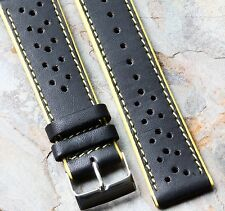 Yellow Stripes matte leather 22mm racing watch strap w/ yellow edges & stitching
