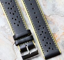 Yellow Stripes leather 22mm racing watch band yellow edges & stitching 17 sold