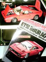 FERRARI GTO  1984/ 1:18 BURAGO  édit.1990 ROUGE+AFFICHE PRESENTATION