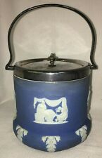 Antique 1800s Wedgwood Biscuit Jar Barrel with Silver Plated Lid