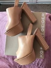 Kurt Geiger Size 6 Nicole Beige Leather Gold Studded Platform.Brown,Nude,Tan.NEW