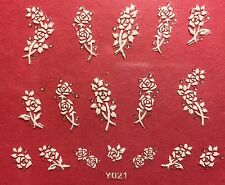 Nail Art 3D Decal Stickers White Roses Flowers Y021