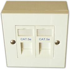 2 Way Double LAN RJ45 Gigabit Ethernet Network Faceplate, Backbox, Cat 5e Module