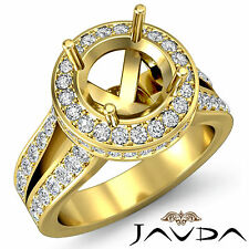 Diamond Engagement Semi Mount Ring 18k Yellow Gold Halo Set Split Shank 1.3Ct