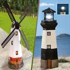 More details for solar traditional outdoor garden lighting ornament windmill/ rotating lighthouse