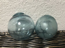 Vintage Lot of 2 Blue Japanese Glass Fishing Floats - Seattle Beachcombed
